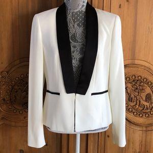 Black white Anne Klein lined tuxedo blazer 6 EUC